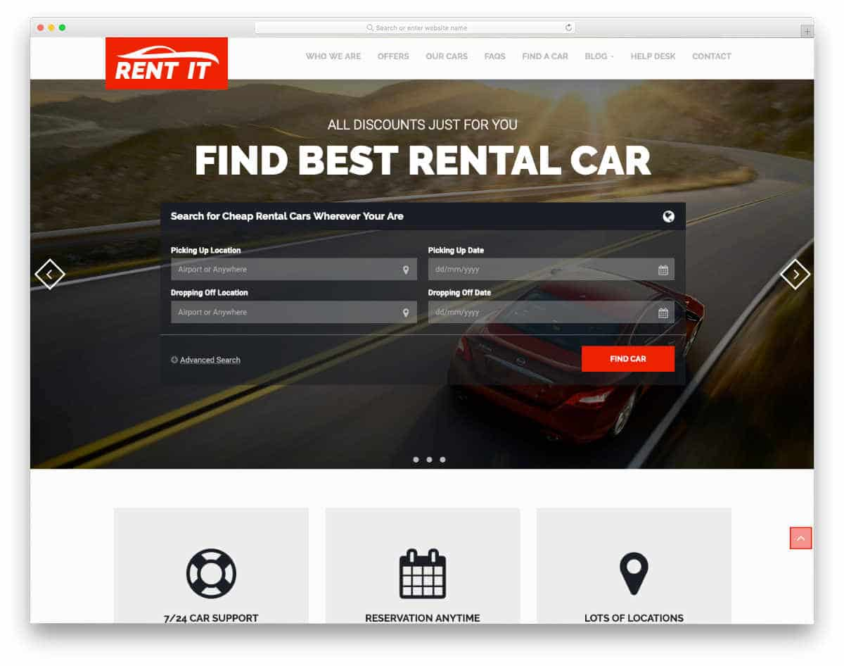 rental website template with useful features