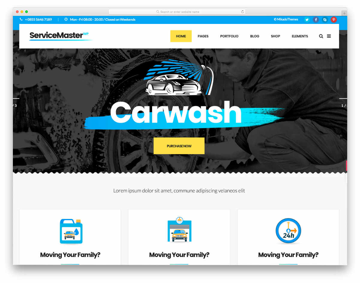 auto detailing website template with interactive elements