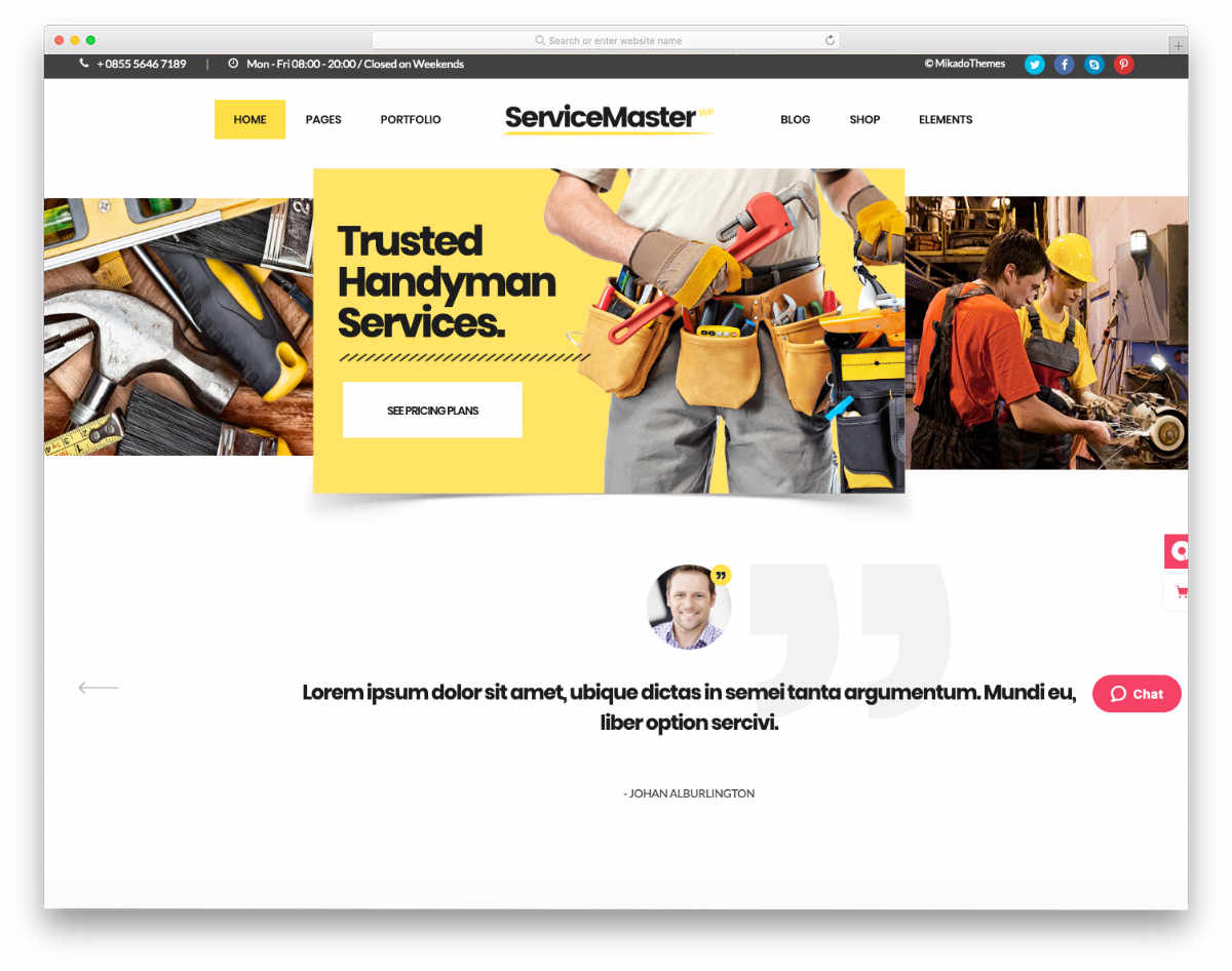 website template for service businesses