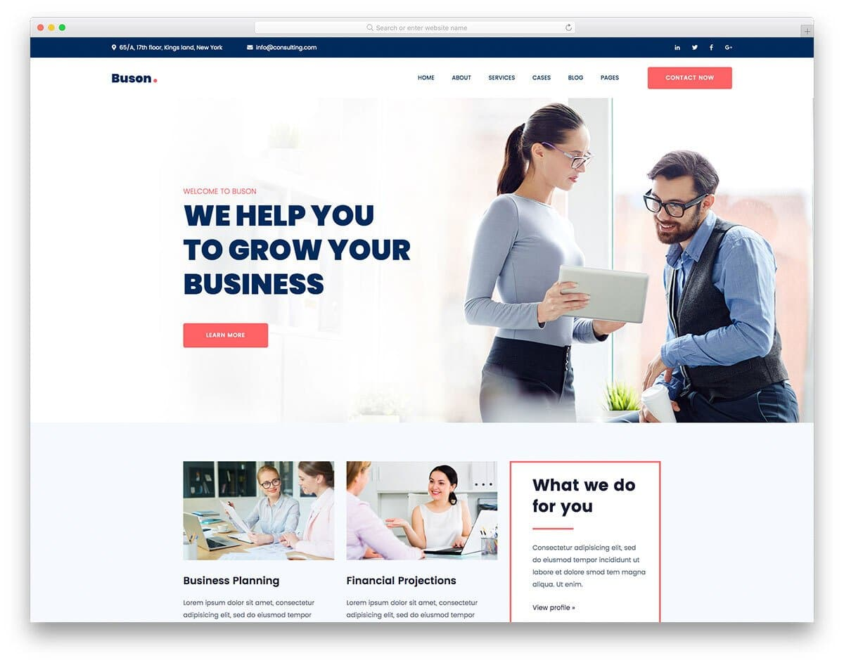 modern responsive consulting website template