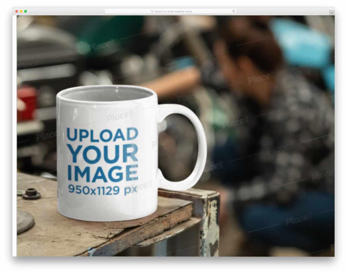 coffee mug in a garage