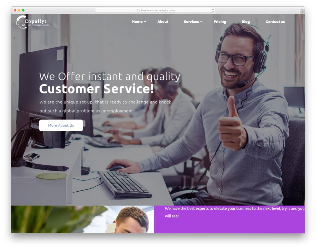 call center and virtual assistant website template