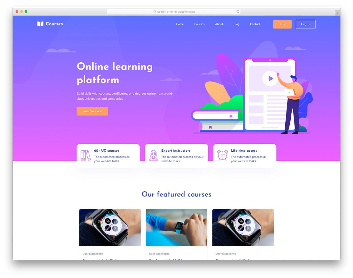 online courses website template