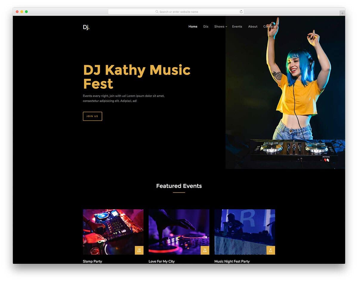dark theme DJ website template