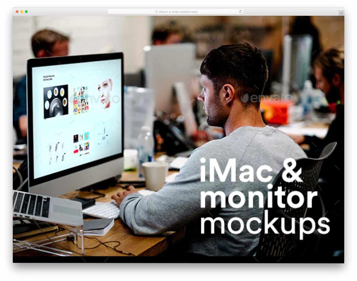 iMac in workspace mockup