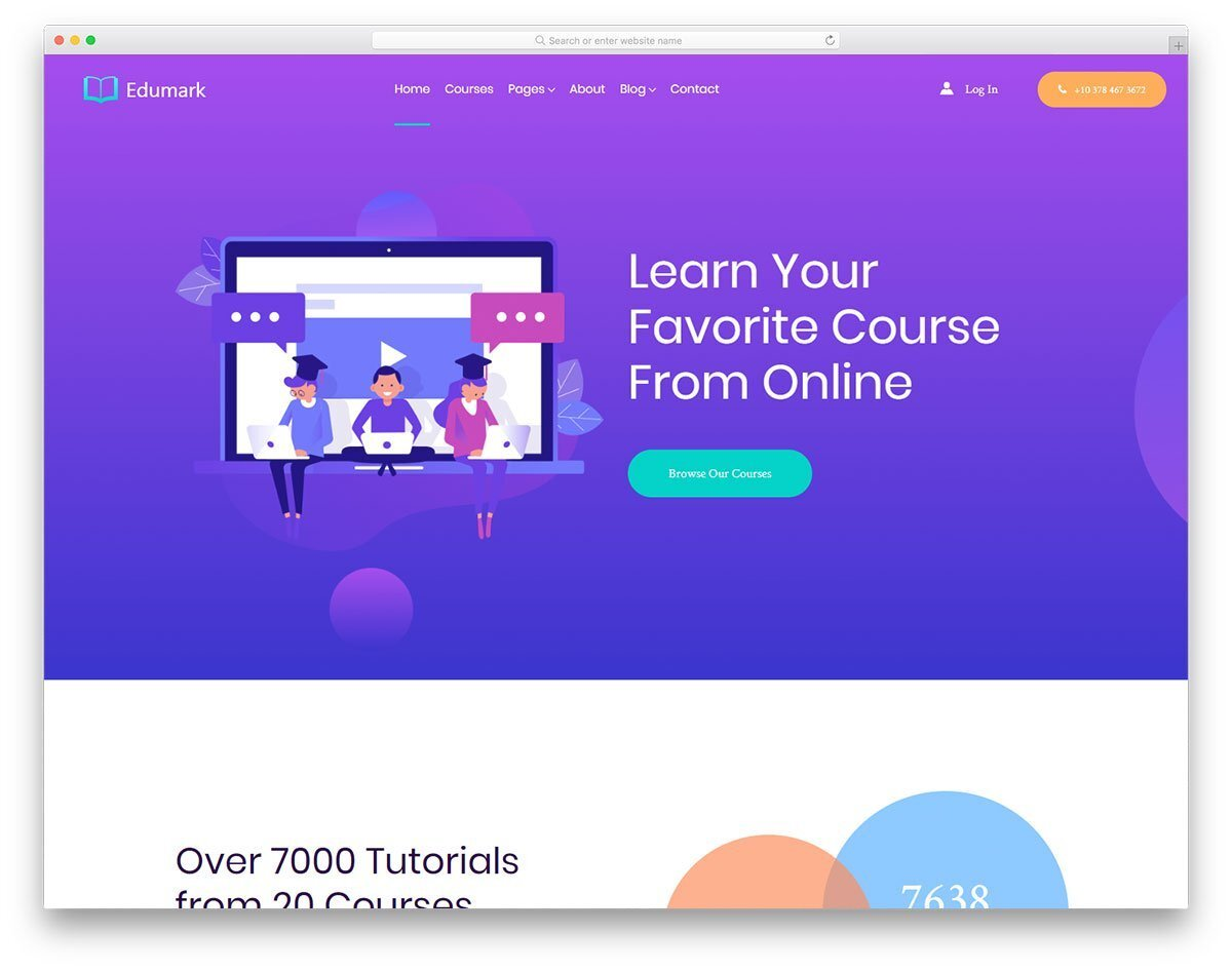 colorful college website template