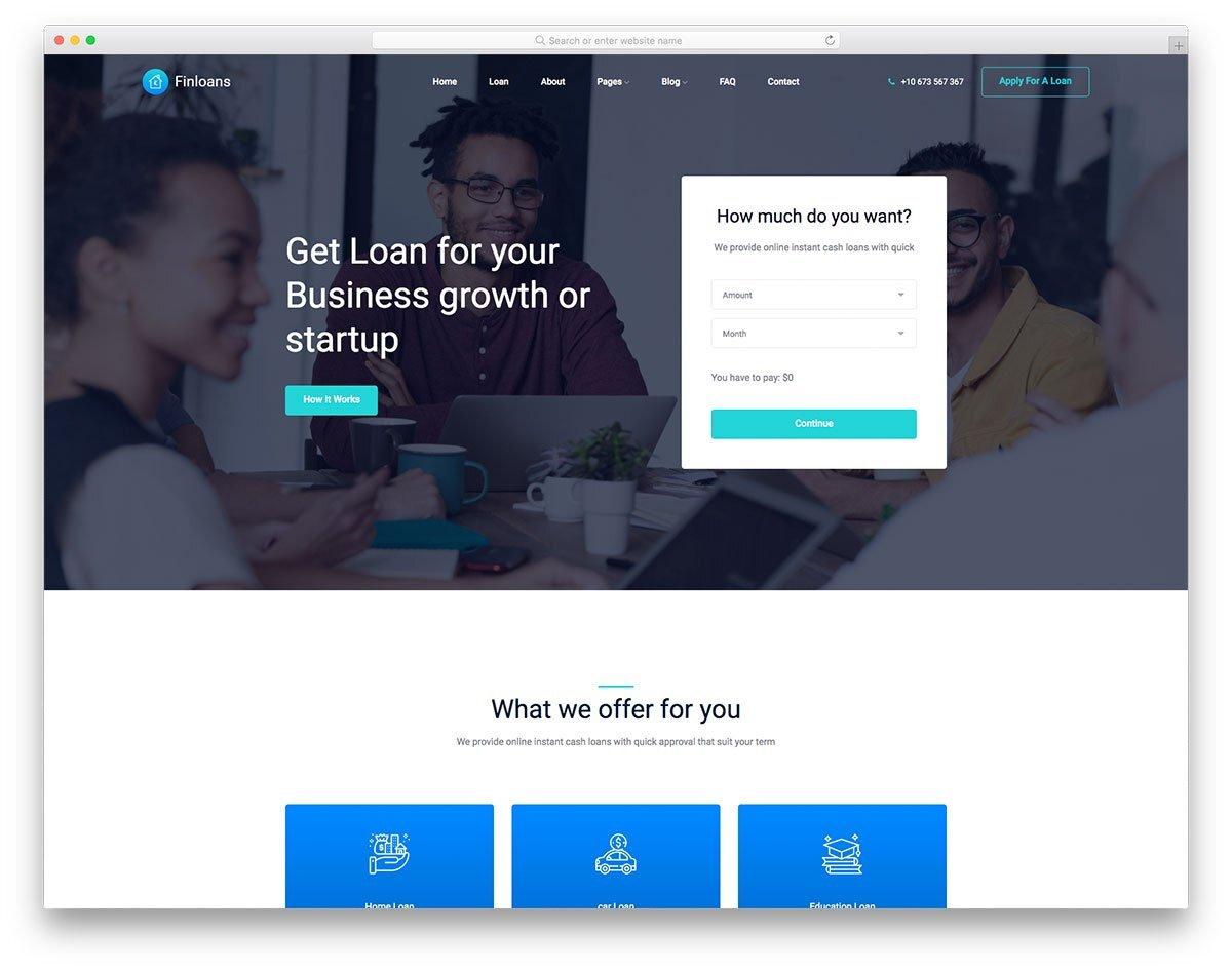 clean finance website template