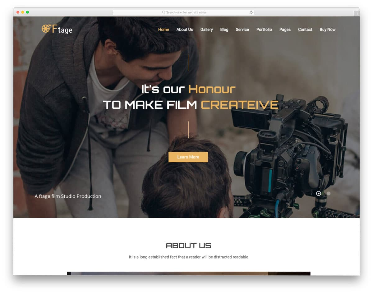 video production related website template