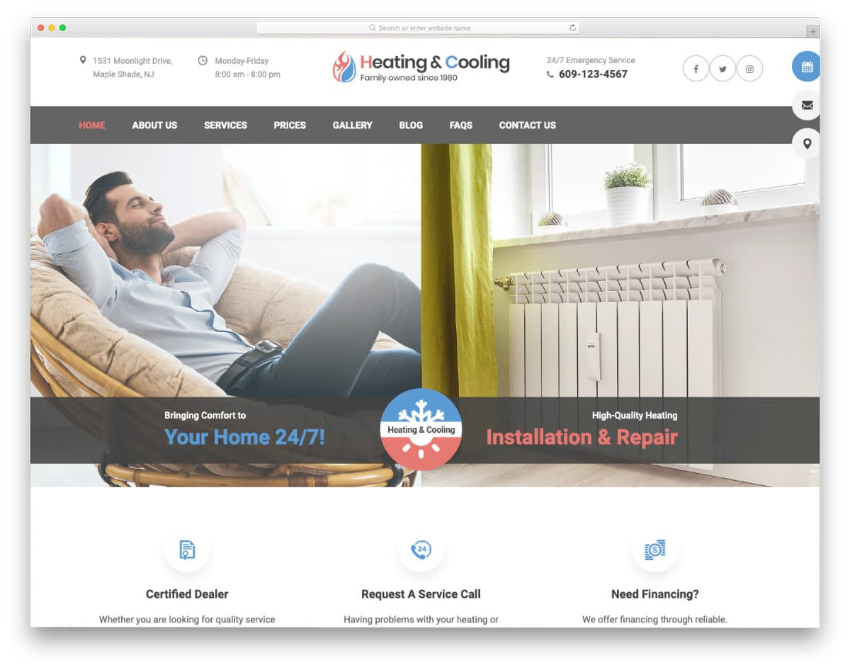 user-friendly HVAC website template