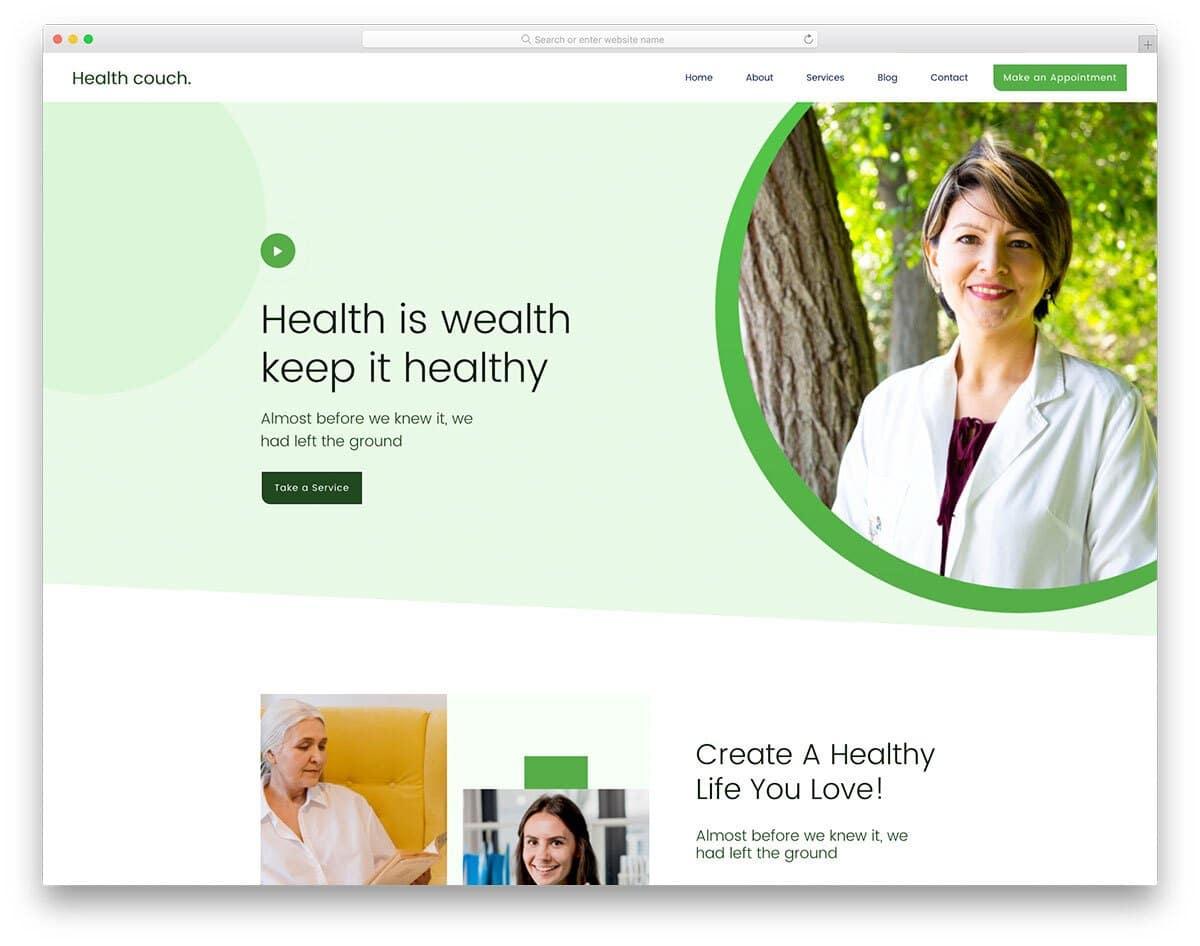 health coach website template