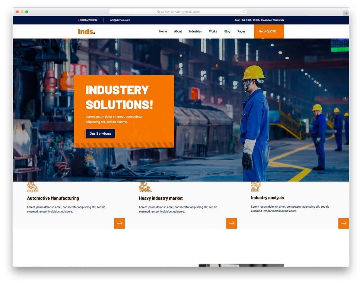 modern industrial website template