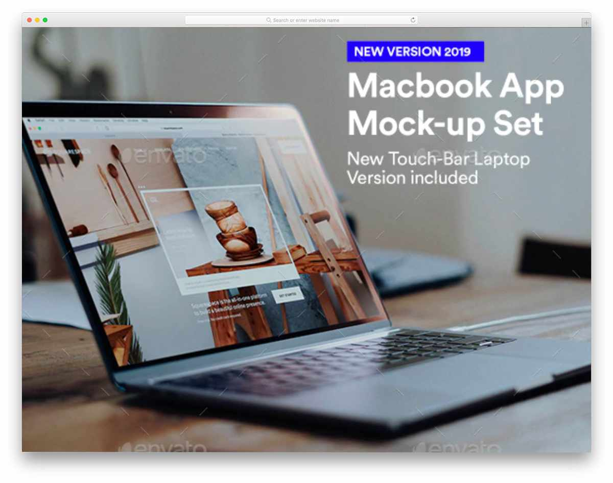 macbook mockup with a casual scene