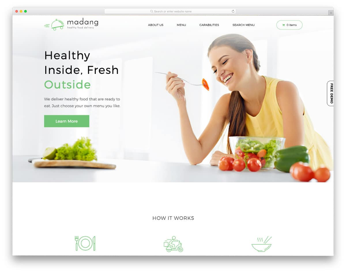 clean food website template