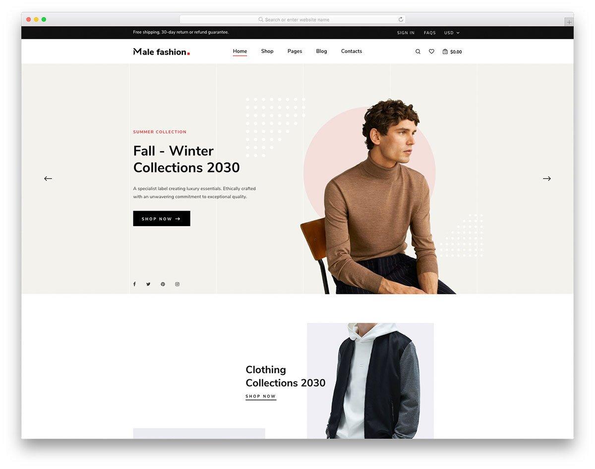male fashion and accessory store