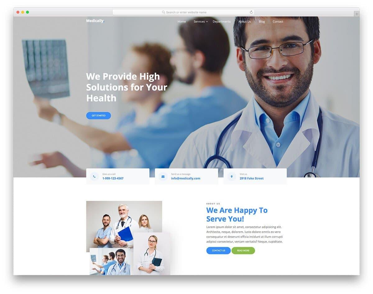 content-rich hospital website template