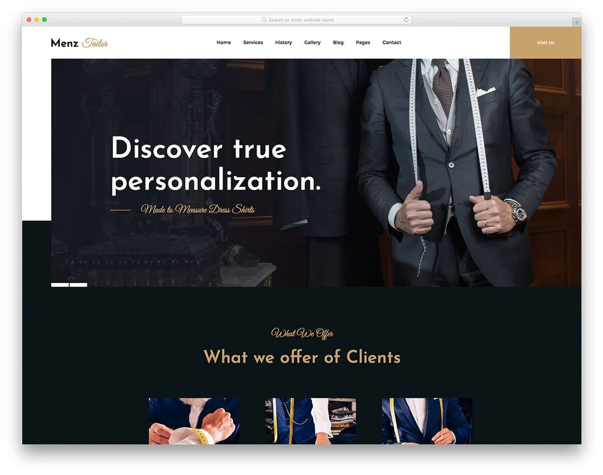 free tailoring website template