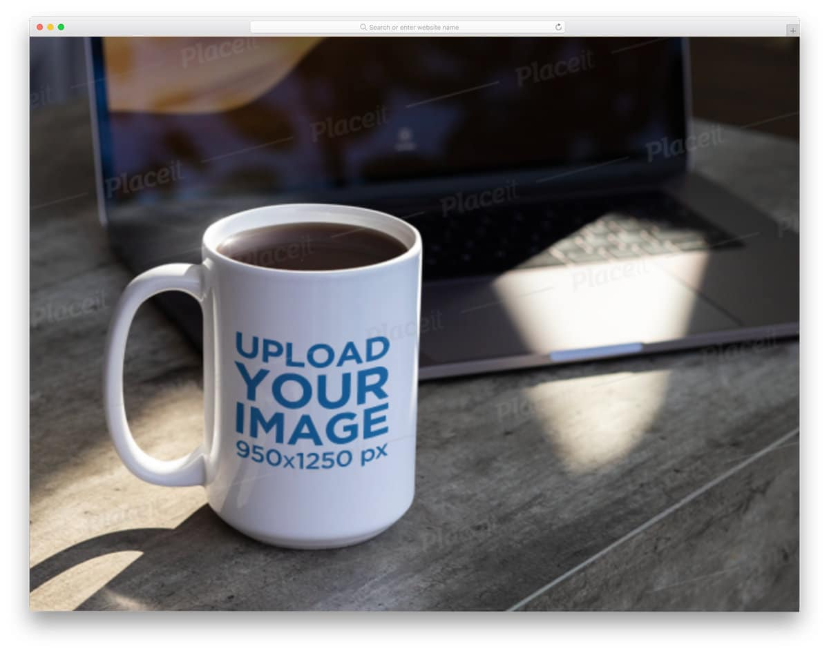 mug near a laptop image mockup