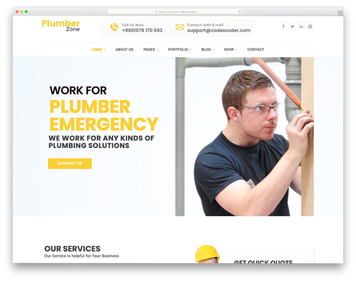clean and simple plumber website template