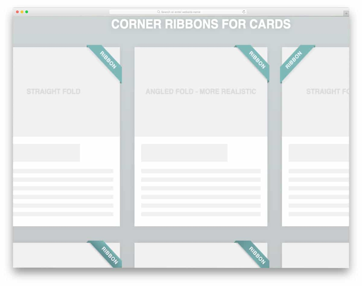 regular corner ribbon design set