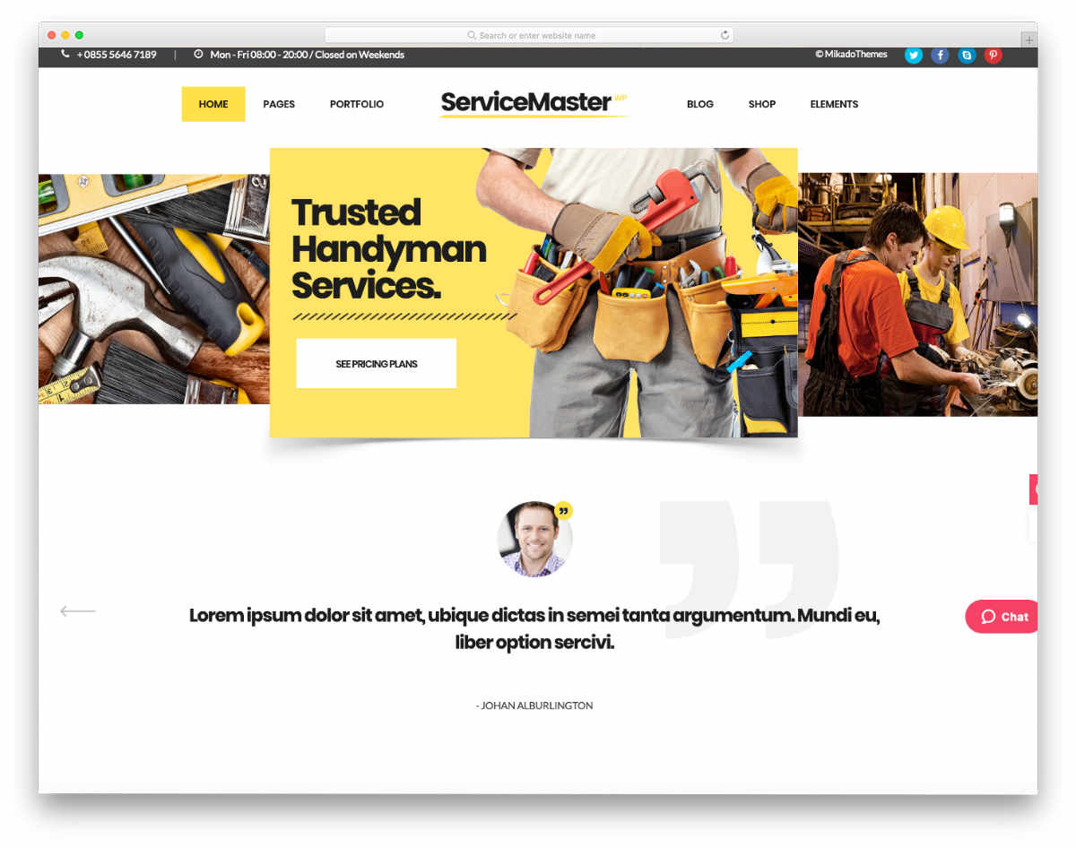 multi-purpose handyman WordPress theme