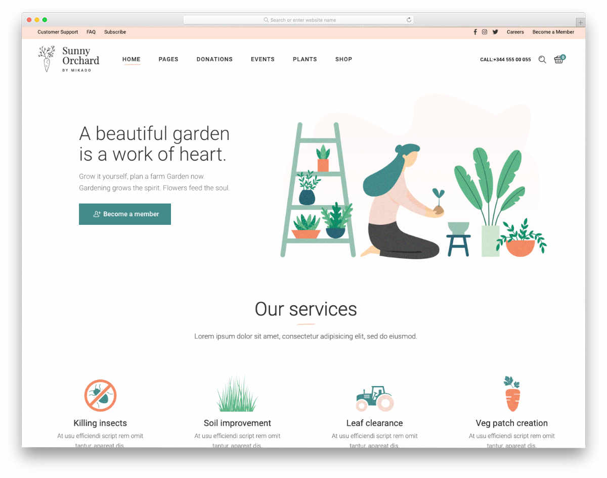 clean and modern gardening and landscaping website templates