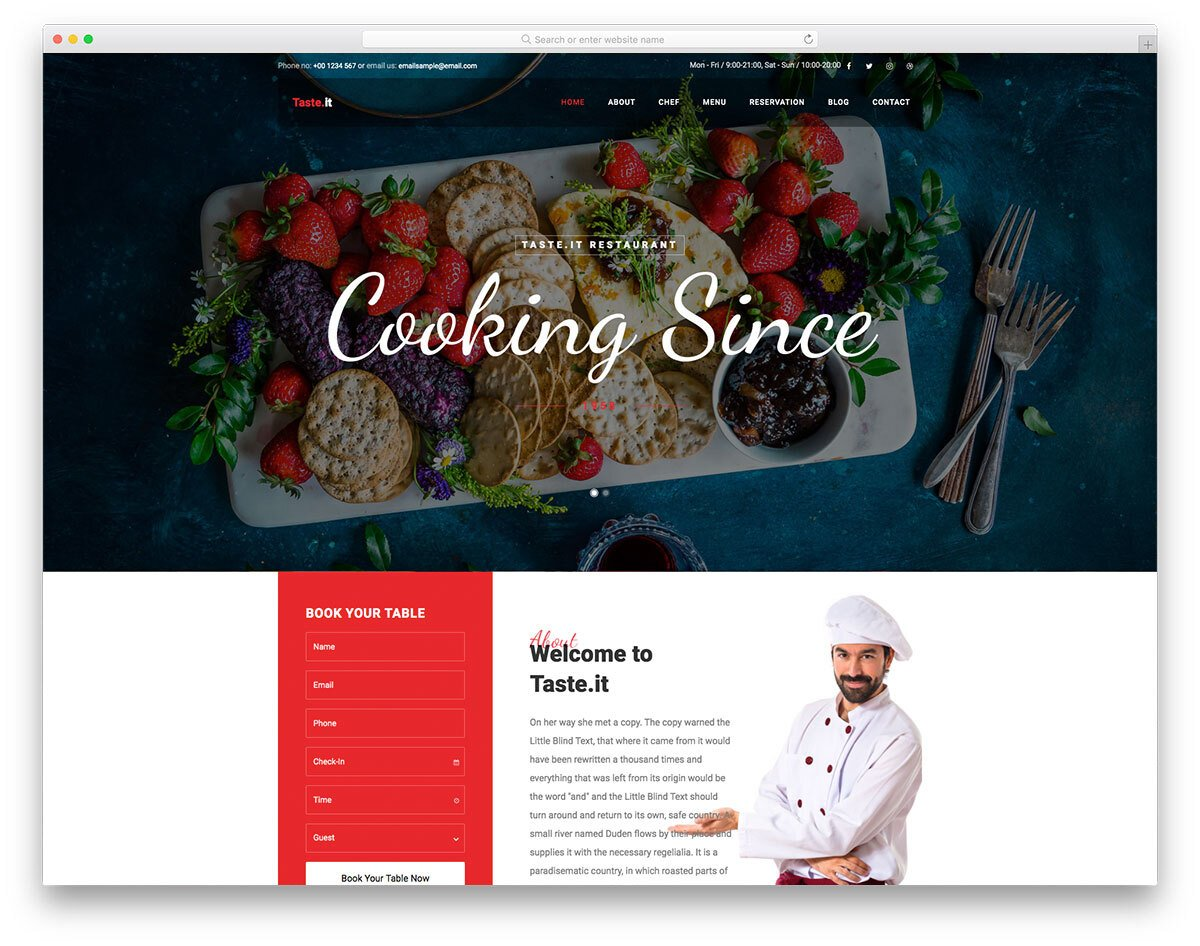 interactive restaurant website template
