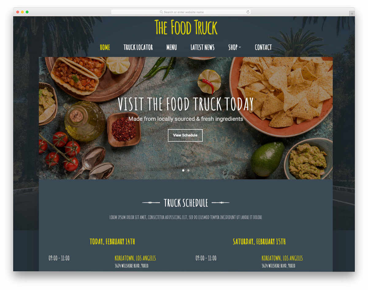 simple food truck website template