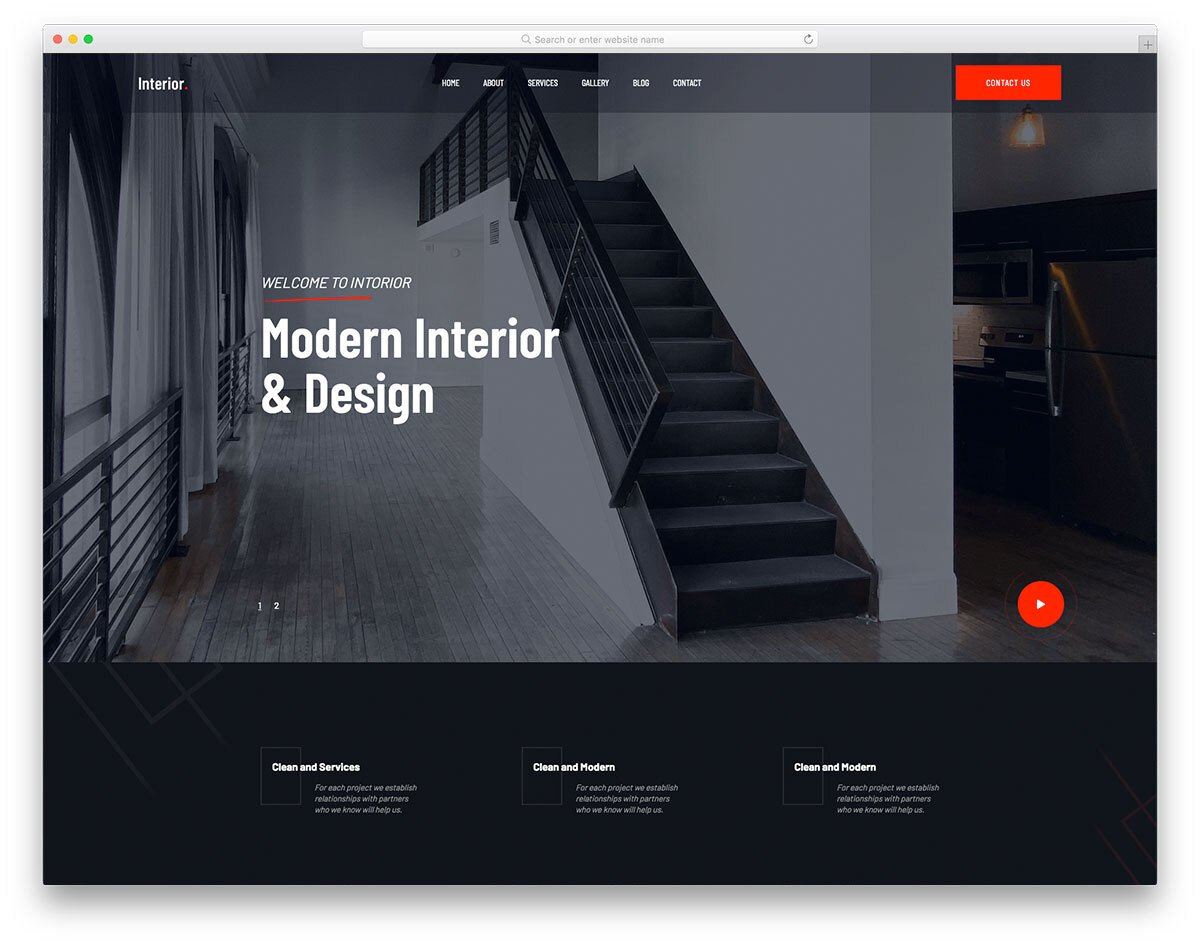 interior design website template with an artistic touch