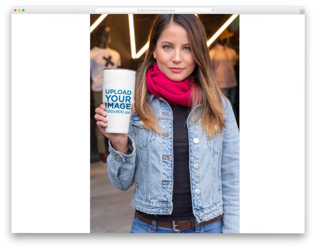 woman holding travel mug mockup image