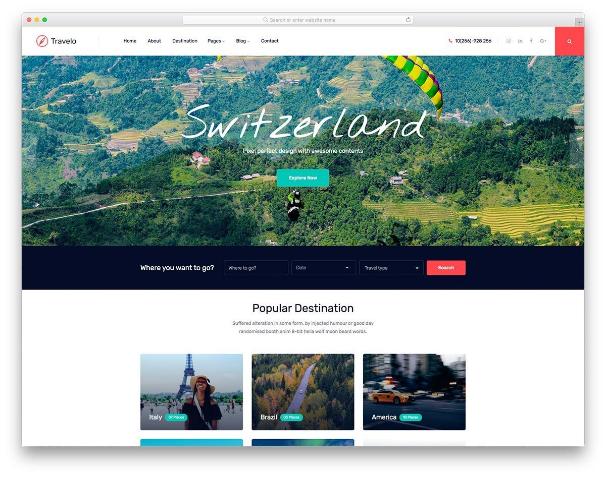 image-rich travel website template