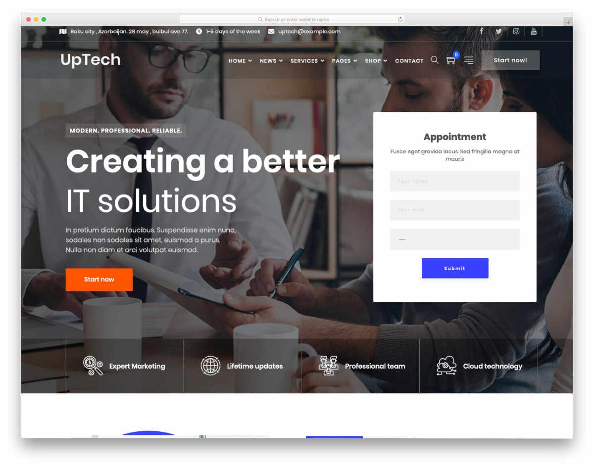 goal-focused website template
