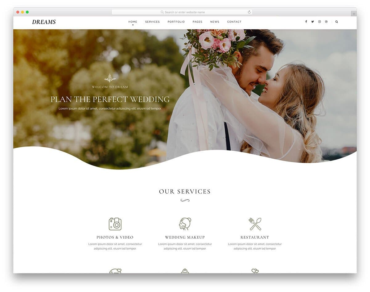 modern wedding website template