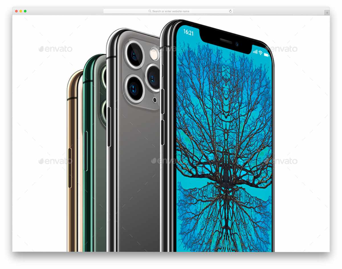iphone 11 pro mockups with all four colors