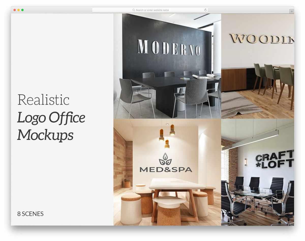 office wall 3D logo mockups