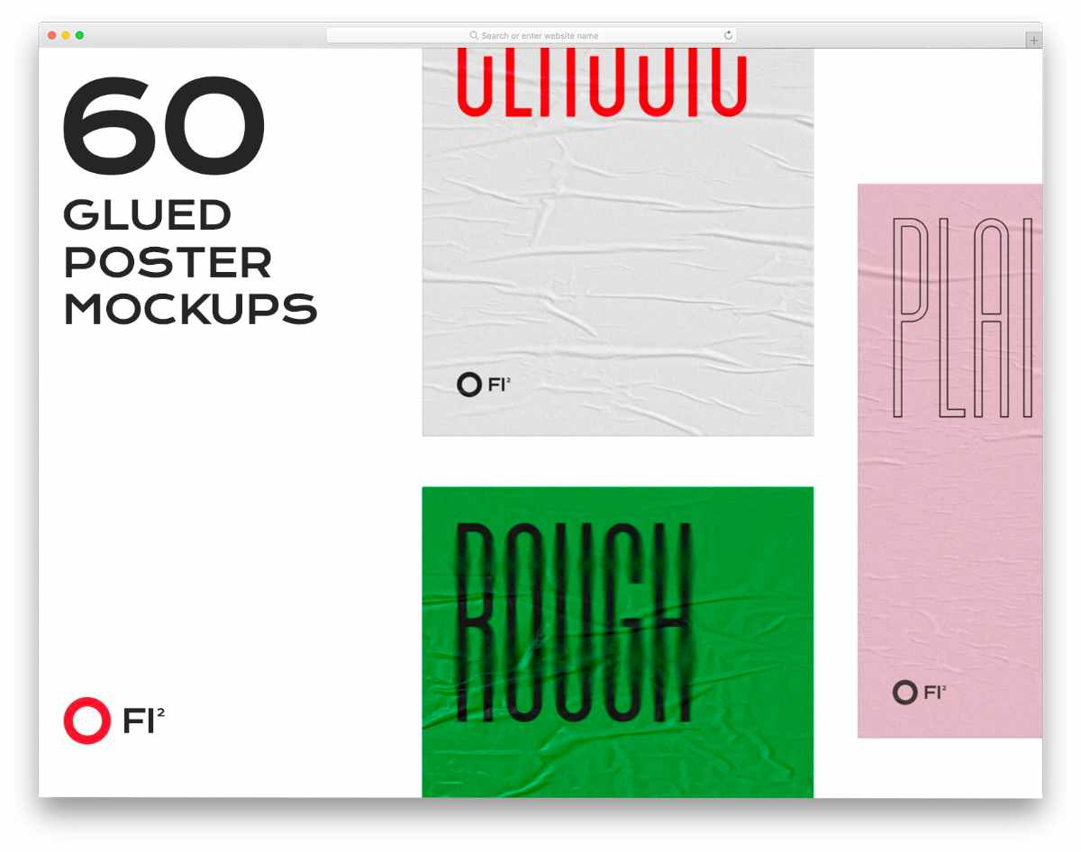glued poster mockup with different mockups