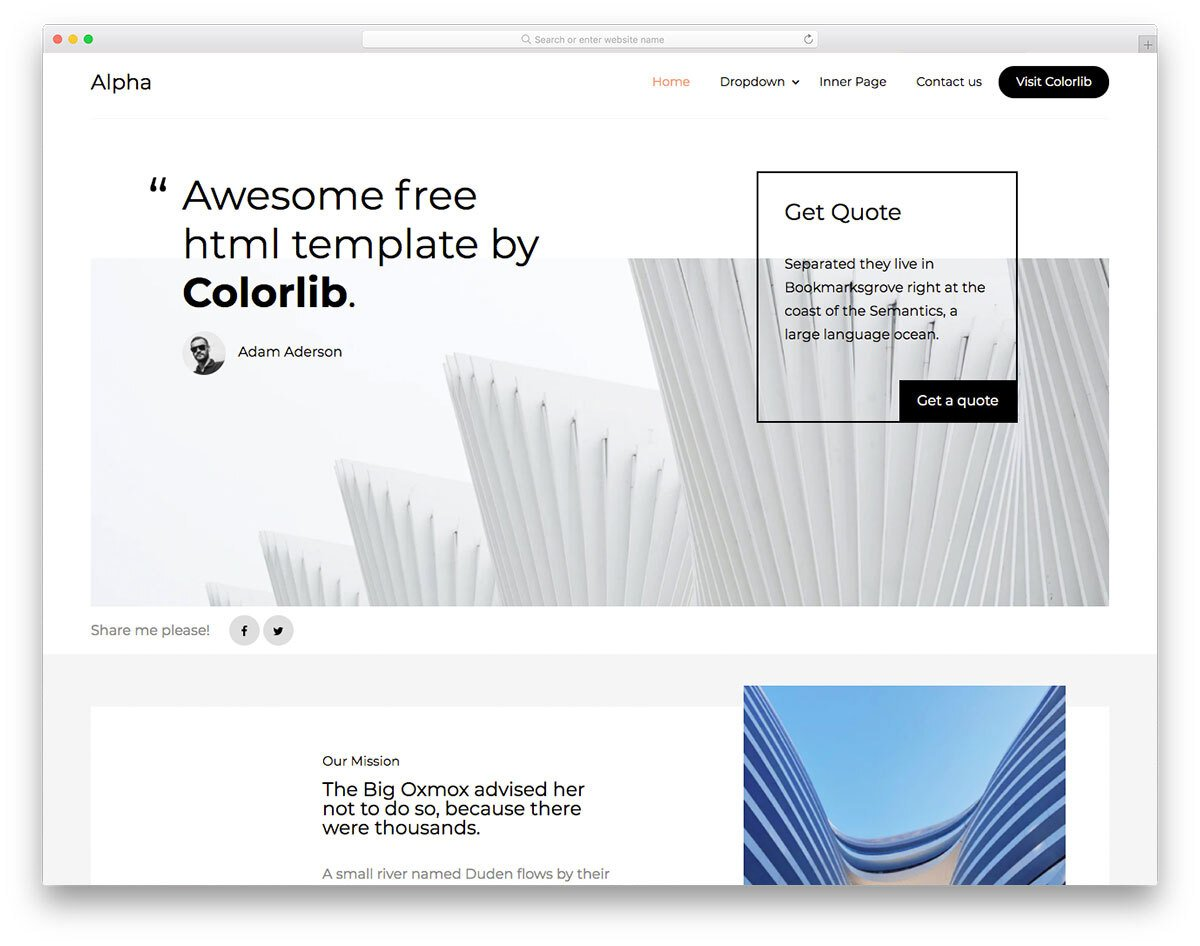 free simple website template for architect websites
