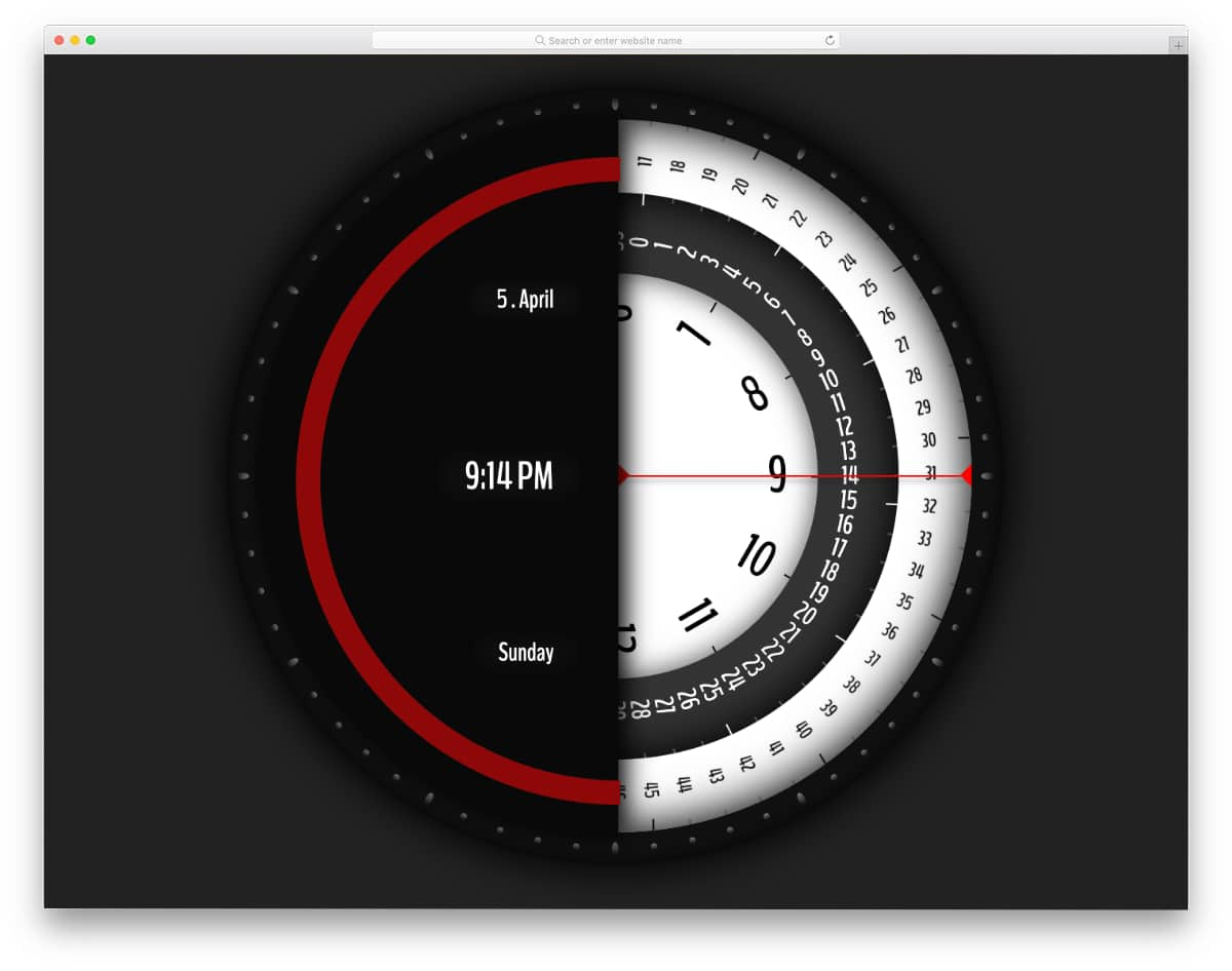part digital part analog clock design