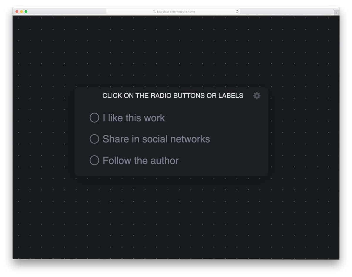 radio button concept with tooltip