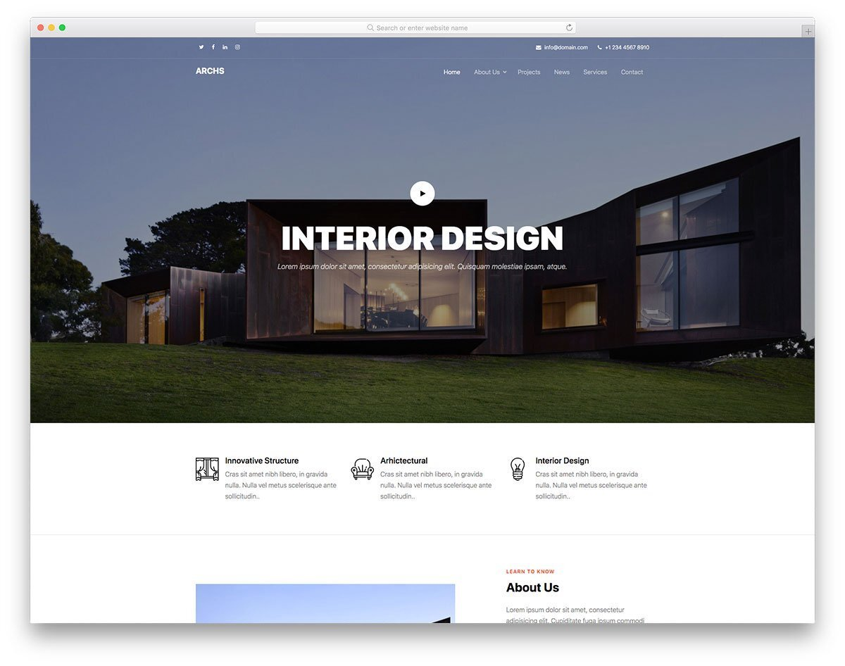 one-page website template for architects