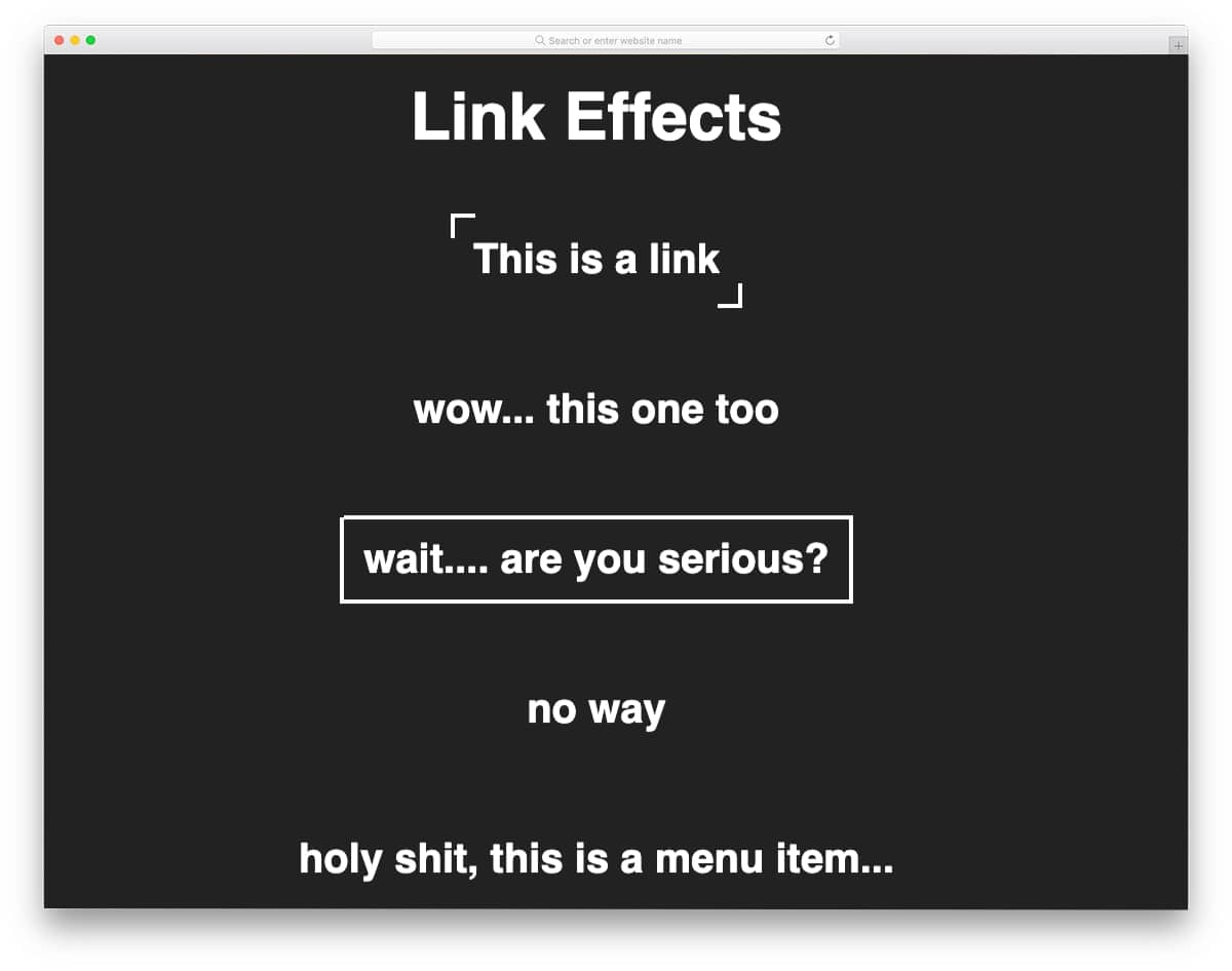 interactive link effects
