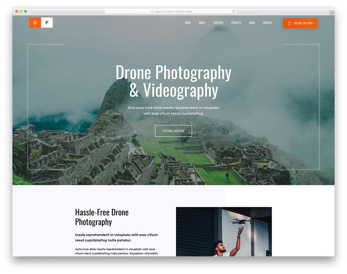 photography website template for drone photogrpaphy