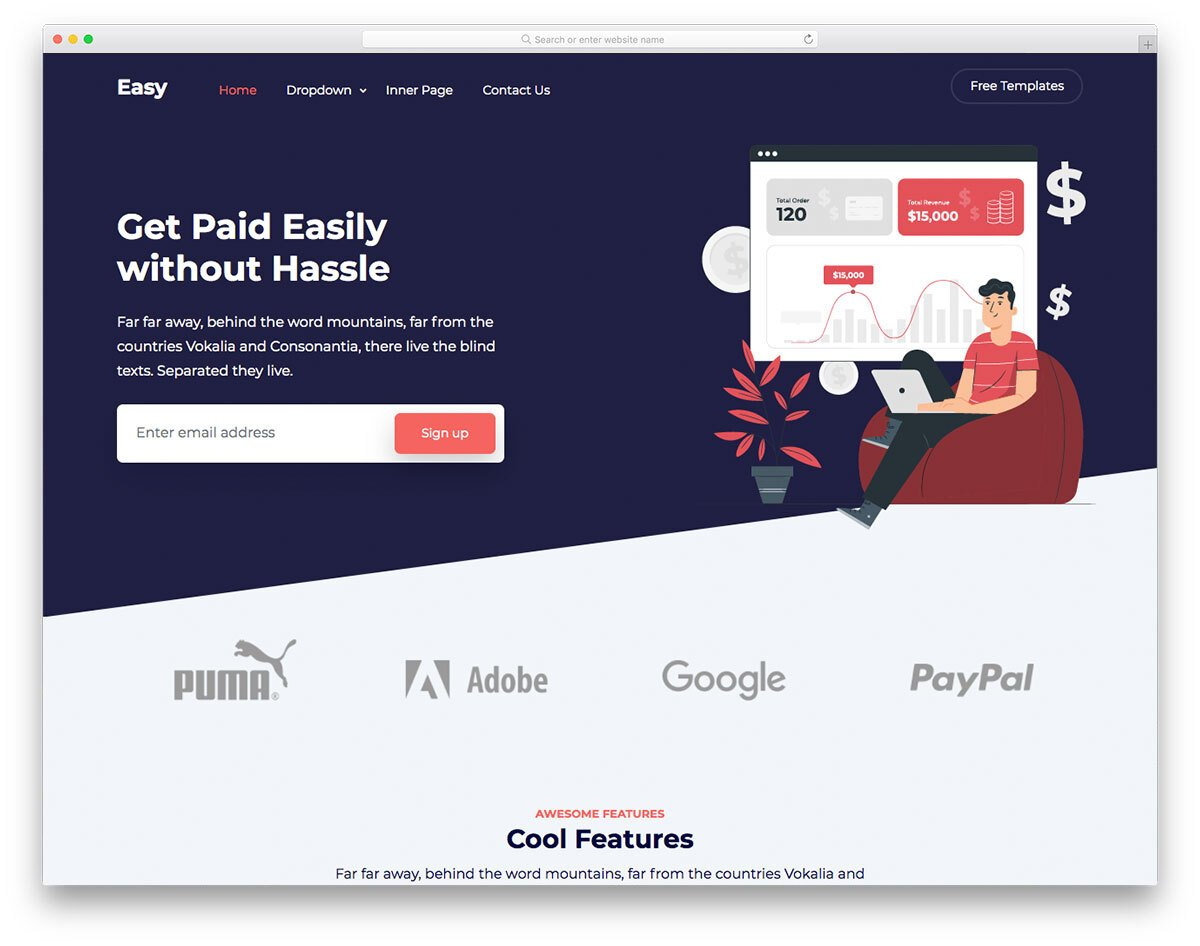 landing page template for financial and app companies