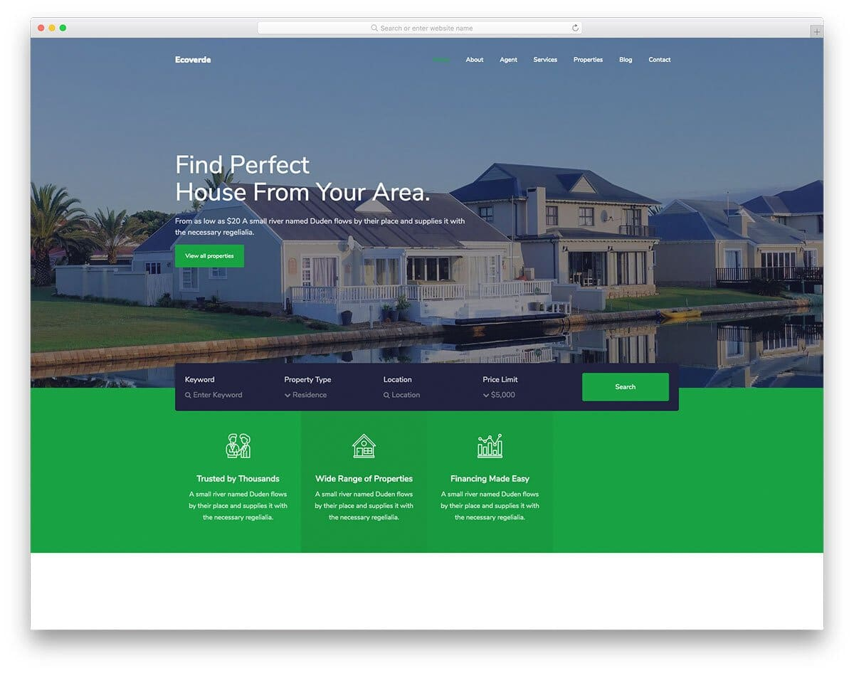 professional-looking real estate website template to clearly explain your services