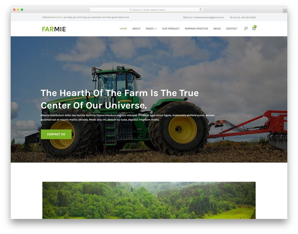 image-rich simple website template for farming websites