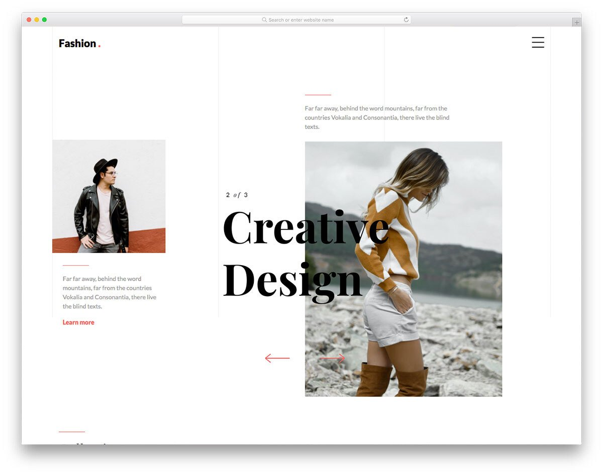 fashion website template with a creative design