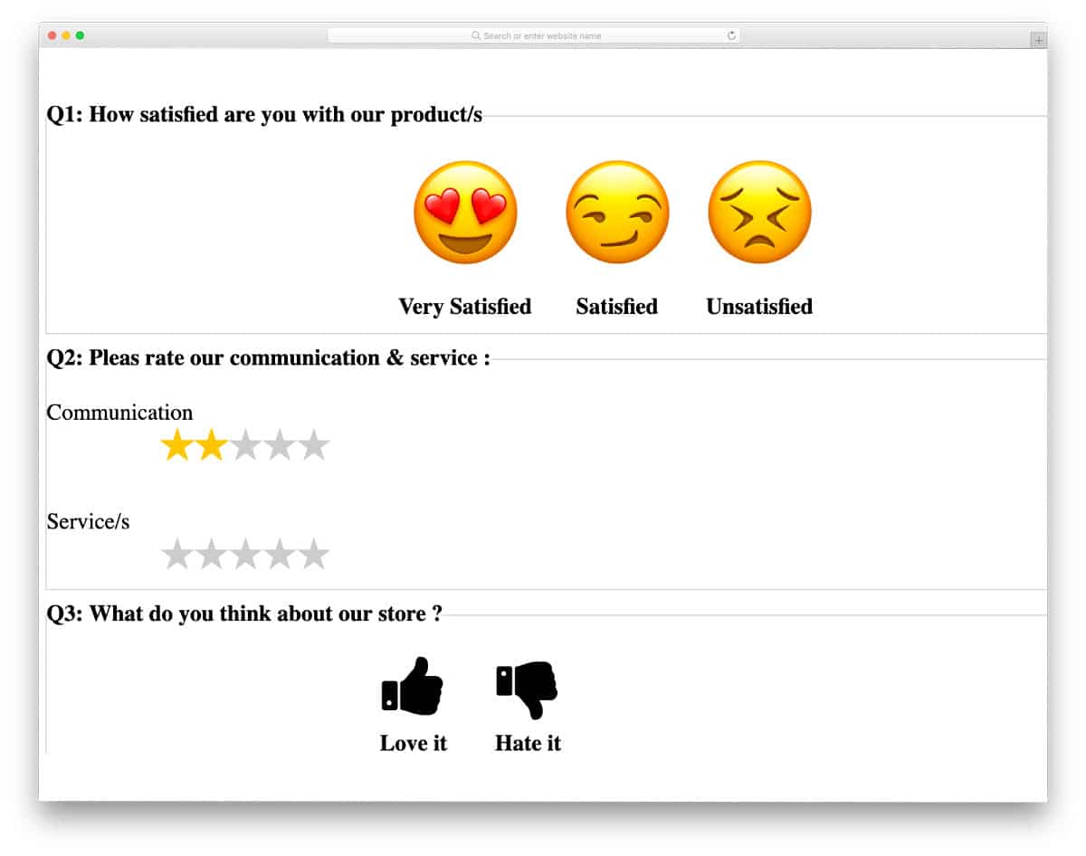 feedback form with rating elements