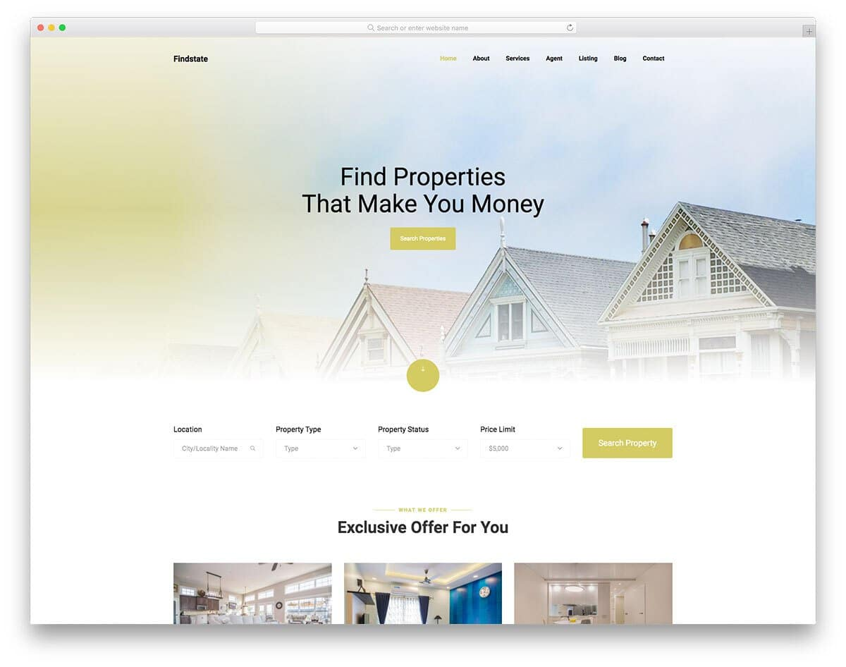 luxury property real-estate website template