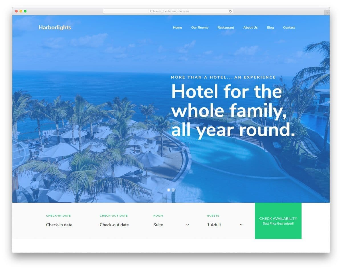 feature-rich hotel website template