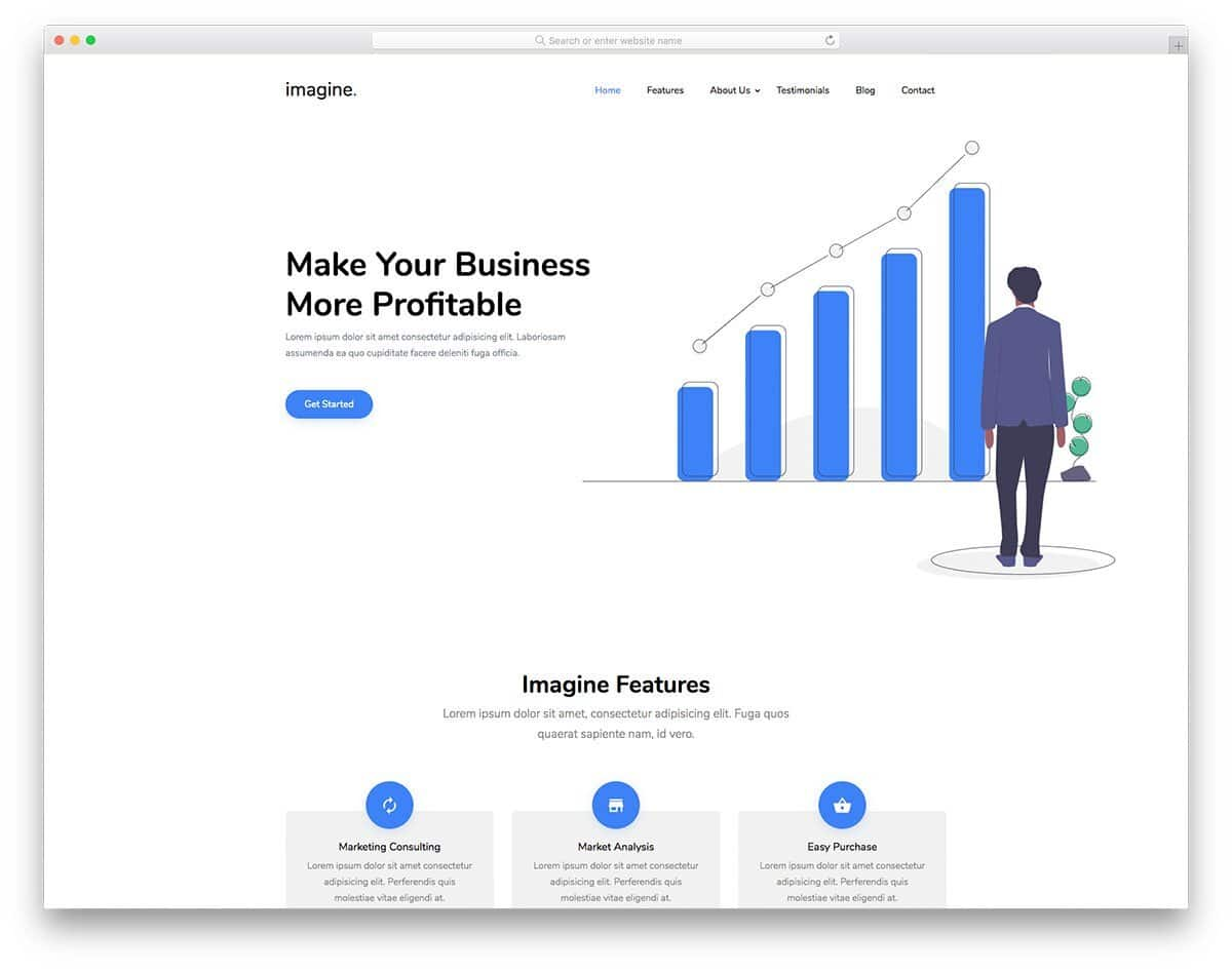 clean business landing page