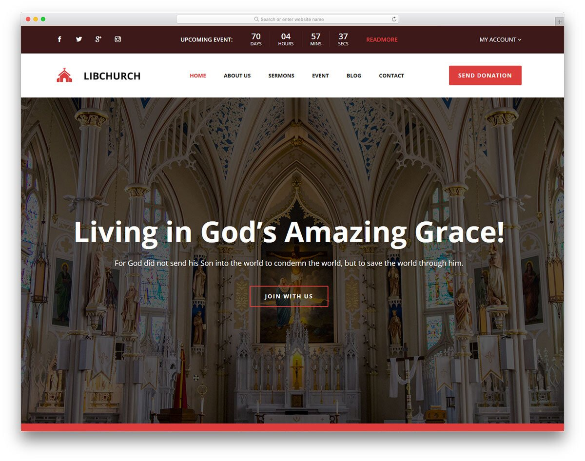 church website template with useful options